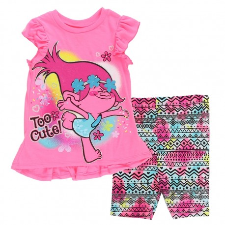 Dreamworks Trolls Pink Too Cute Toddler Hi Low Top With Biker Pants At Houston Kids Fashion Clothing