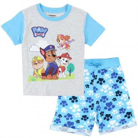 Nick Jr Toddler Boys Paw Patrol Grey Toddler Shirt With Blue Paw Print French Terry Shorts At Houston Kids Fashion Clothing