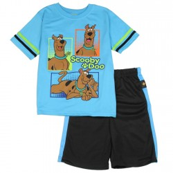 Scooby Doo Boys Blue Short Sleeve Shirt With Shorts