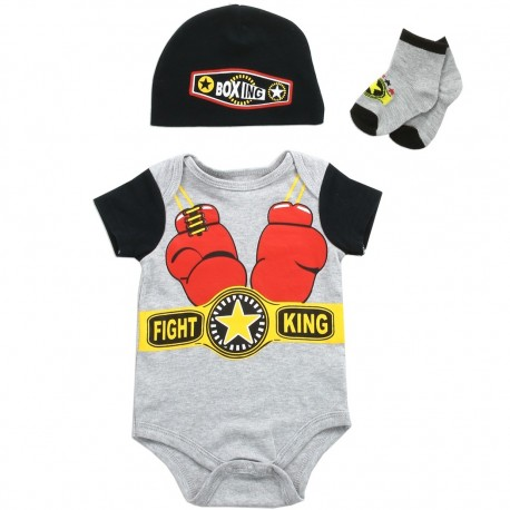 Baby Buster Brown Fight King Onesie Cap and Socks 3 Piece Set Houston Kids Fashion Clothing Store