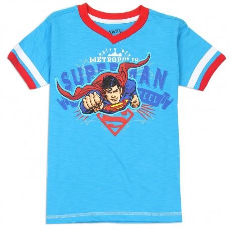 DC Comics Boys Superman The Man Of Steel City Of Metropolis Blue Short Sleeve Shirt At Houston Kids Fashion Clothing Store