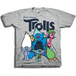 Dreamworks Trolls Cast Of Characters Grey Toddler Boys Short Sleeve Shirt At Houston Kids Fashion Clothing Store