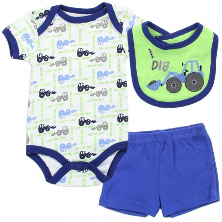 Buster Brown Baby Boys I Dig Tractor Onesie Bib And Shorts Set At Houston Kids Fashion Clothing
