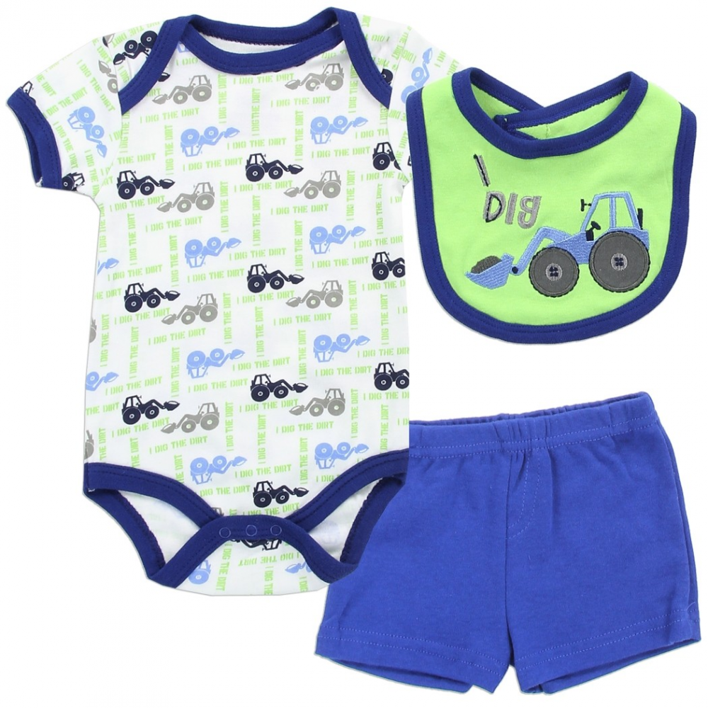 83fc4563c01e Buster Brown Tractor 3 Piece Baby Boys Layette Set
