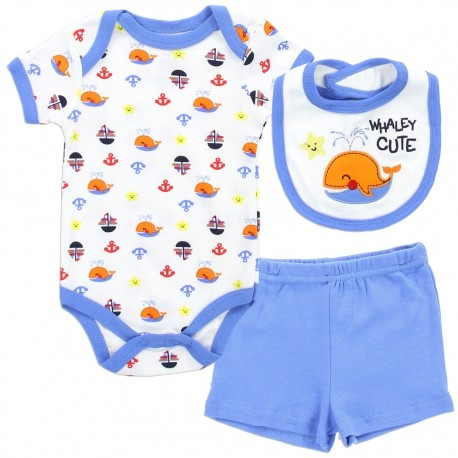 Buster Brown Baby Boys Whaley Cute 3 Piece Set With Onesie Bib And Shorts At Houston Kids Fashion Clothing