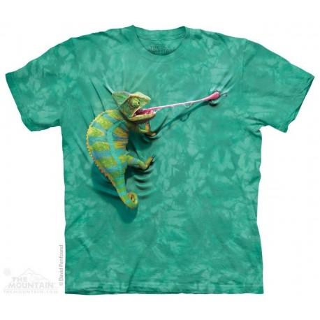 The Mountain Artwear Green Climbing Chameleon Short Sleeve Youth Shirt