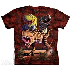 The Mountain T Rex Collage Brown Short Sleeve Shirt