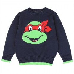 Nick Jr Teenage Mutant Ninja Turtles Raphael Toddler Boys Navy Blue Knit Sweater Houston Kids Fashion Clothing