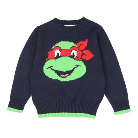Nick Jr Teenage Mutant Ninja Turtles Raphael Toddler Boys Navy Blue Knit Sweater Houston Kids Fashion Clothing