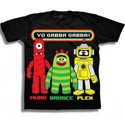 Nick Jr Yo Gabba Gabba Muno Brobee and Plex Black Graphic T Shirt