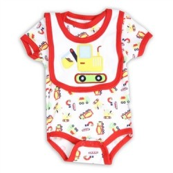 Weeplay Infant Boys Construction Vehicles Onesie & Bib Set