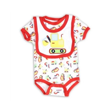 Weeplay Infant Boys Construction Vehicles Onesie and Bib Set Houston Kids Fashion Clothing Store