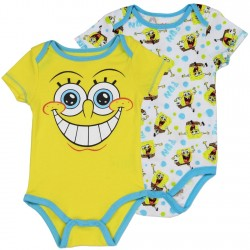 Nick Jr SpongeBob Yellow Smiling Onesie and White Onesie Set At Houston Kids Fashion Clothing Store