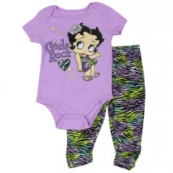 Betty Boop Girls Rock Onesie And Animal Print Srcunch Leggings