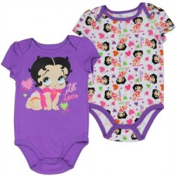 Betty Boop Baby Boop Purple Lil Love Onesie With White All Over Print Onesie