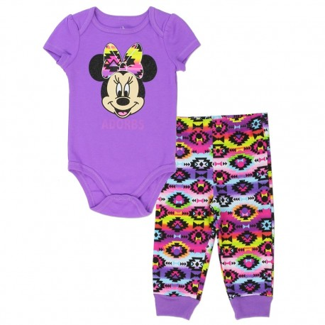 Disney Minnie Mouse Purple Onesie and Colorful Geomettric Design Pants Houston Kids Fashion Clothing StorePants