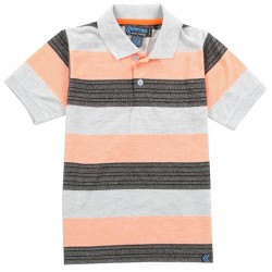 Street Rules Authentic Streetwear Boys Polo Shirt With Black and Peach Stripes Houston Kids Fashion Clothing Store