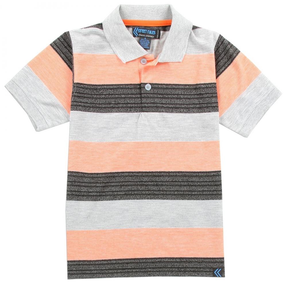 89696da88 Street Rules Authentic Streetwear Boys Polo Shirt With Black and Peach  Stripes Houston Kids Fashion Clothing. Loading zoom