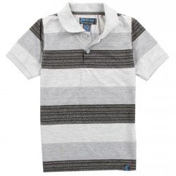 Street Rules Boys Grey Wide Striped Polo Shirt