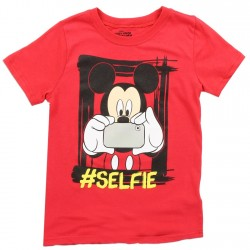 Disney Mickey Mouse Taking A Selfie Red Short Sleeve Shirt