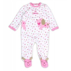 Buster Brown So Sweet Snap Down Infant Girls Footed Sleeper