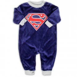 Superman Blue Soft Velour Infant Sleeper Houston Kids Fashion Clothng Store