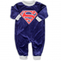Superman Blue Soft Velour Infant Sleeper Houston Kids Fashion Clothng Store