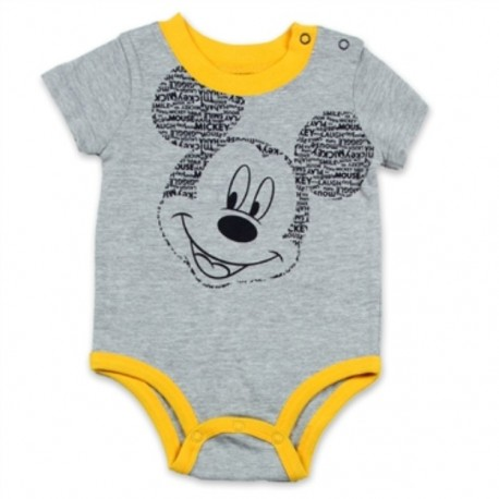 Disney Mickey Mouse Grey Infant Onesie With Yellow Trim Houston Kids Fashion Clothing Store