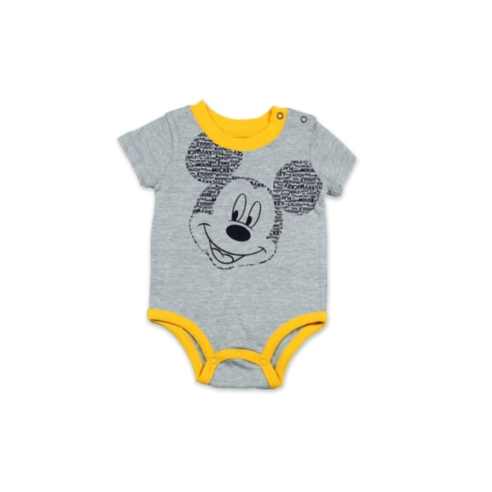 0a6131719 Disney Baby Mickey Mouse Grey Boys Onesie With Yellow Trim Free Shipping  Houston Kids Fashion Clothing. Loading zoom