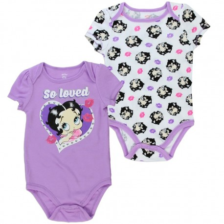 Betty Boop Baby Boop So Loved Purple Baby Onesie and White Pink and Purple Kisses Baby Onesie Kids Fashion Clothing
