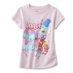 Dreamworks Trolls Dance Sing Hug Light Pink Girls Shirt