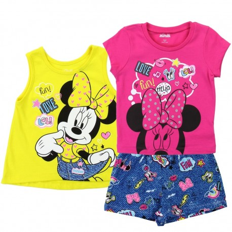 Disney Minnie Mouse 3 Piece Toddler Girls Short Set Houston Kids Fashion Clothing Store