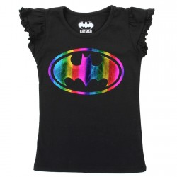 DC Comics Batgirl Rainbow Bat Signal Girls Black Princess Tee