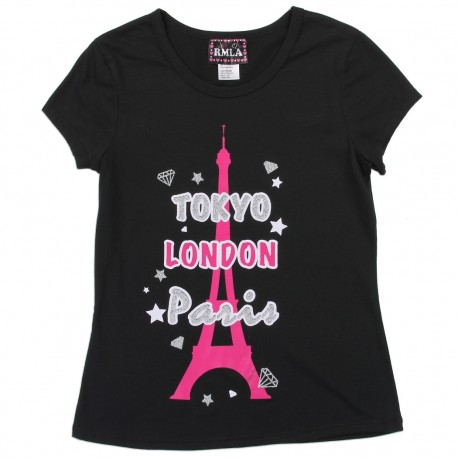 RMLA Tokyo London Paris With Pink Eiffel Tower Black Short Sleeve Shirt Girls Shirt Houston Kids Fashion Clothing Store