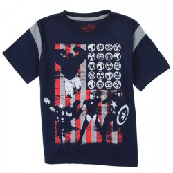 Marvel Comics Avengers Boys Shirt With Captain America Ironman Thor and The Hulk In Front of Flag
