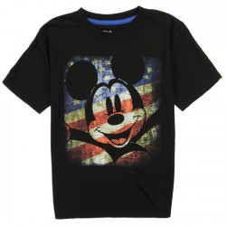 Disney Mickey Mouse American Flag Black Short Sleeve Shirt