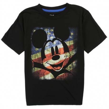 Disney Mickey Mouse In Front Of American Flag Boys Shirt Houston Kids Fashion Clothing Store The Woodlands Texas