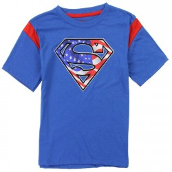 DC Comics Superman Red White And Blue Sheild Blue Shirt