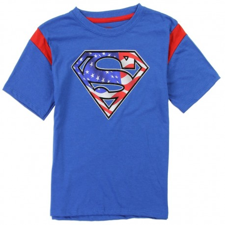 DC Comics Superman Red White And Blue Sheild Blue Boys Shirt Houston Kids Fashion Clothing Store