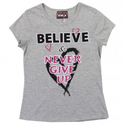 RMLA Believe And Never Give Up Grey Girls Shirt
