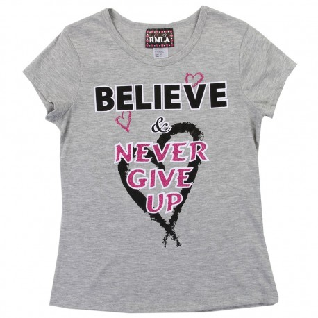 RMLA Believe And Never Give Up Grey Girls Shirt Houston Kids Fashion Clothng Store