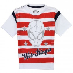 Marvel Comics Spider Man Red And White Stripe Boys Shirt Houston Kids Fashion Clothing Store