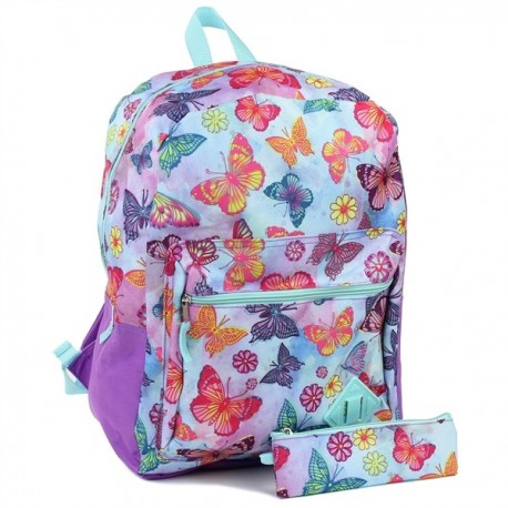 "Confetti Butterfly 16"" Backpack and Matching Pencil Case Houston Kids Fashion Clothing Store"