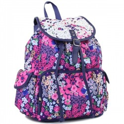 Confetti Purple Backpack With Pink Flowers 5 Piece Backpack Set