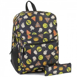 Confetti Happy Face And Pizza Emojis Black Backpack With Matching Pencil Case