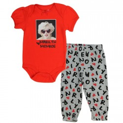 Marilyn Monroe Red Onesie and Grey Pants 2 Piece Set