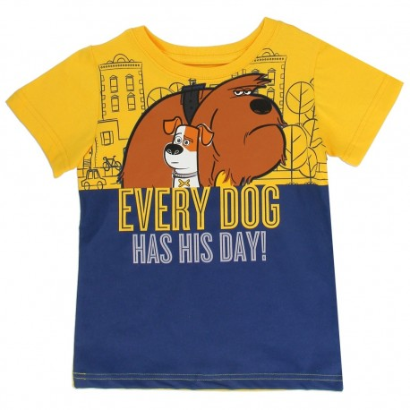 Universal Secret Lifef Pets Every Dog Has His Day Blue And Yellow Toddler Shirt Houston Kids Fashion Clothing Store