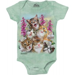 The Mountain Artwear Kitten Selfies Green Baby Onesie