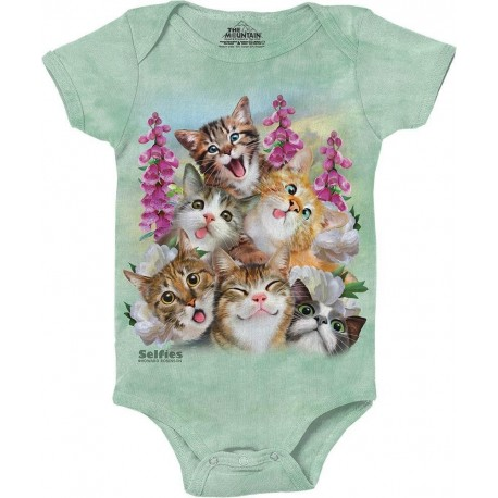 The Mountain Artweat Kitten Selfies Green Baby Onesie Houston Kids Fashion Clothing Store