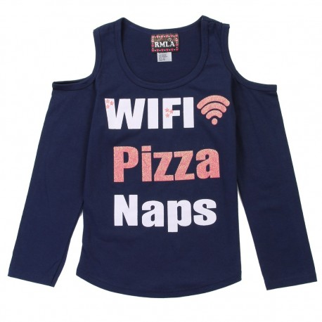 RMLA WIFI Pizza Naps Navy Blue Cold Shoulder Girls Top Houston Kids Fashion Clothing Store